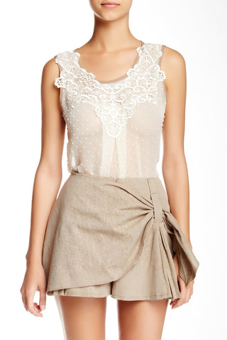 Brown Trim On Lace Tank Top