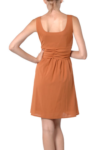 Orange Block Chiffon Dress