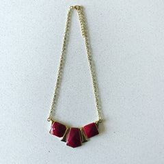 3 Stone Burgundy Necklace