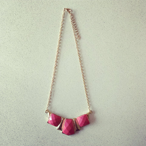 3 Stone Pink Necklace