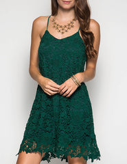 Green Sleeveless Crochet Lace Dress