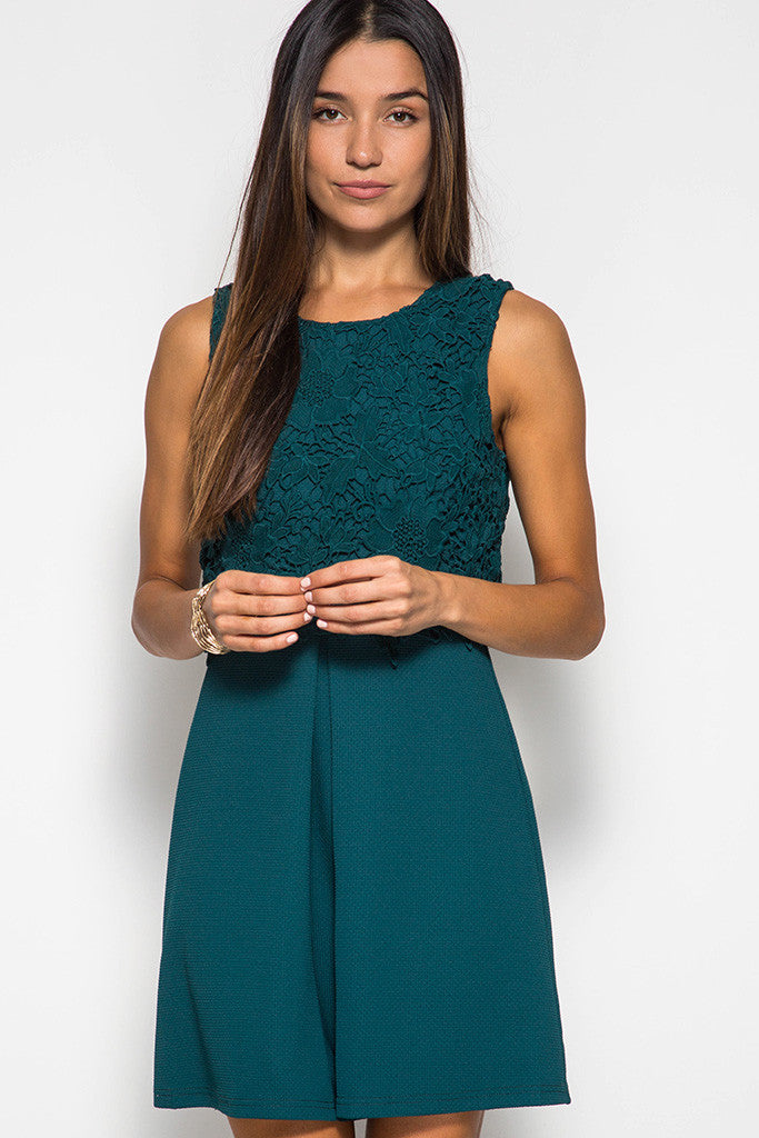Sea Green Floral Detail Lace Dress