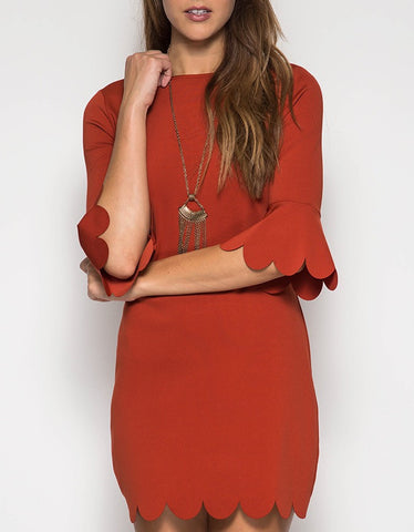 Burnt Orange Mid Sleeve Scalloped Dress