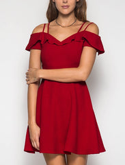 Red Sweetheart Neck Off the Shoulder Dress