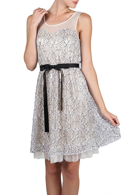 Backless White Lace Dress With Polka Dot Detailed Neckline