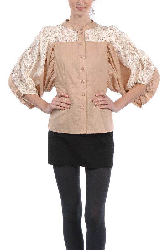 Tan Blouse With Lace Detailed Sleeves