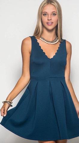 Sleeveless Fit And Flare With Scalloped Necklin