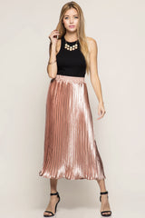 Pleated Metallic Rose Skirt