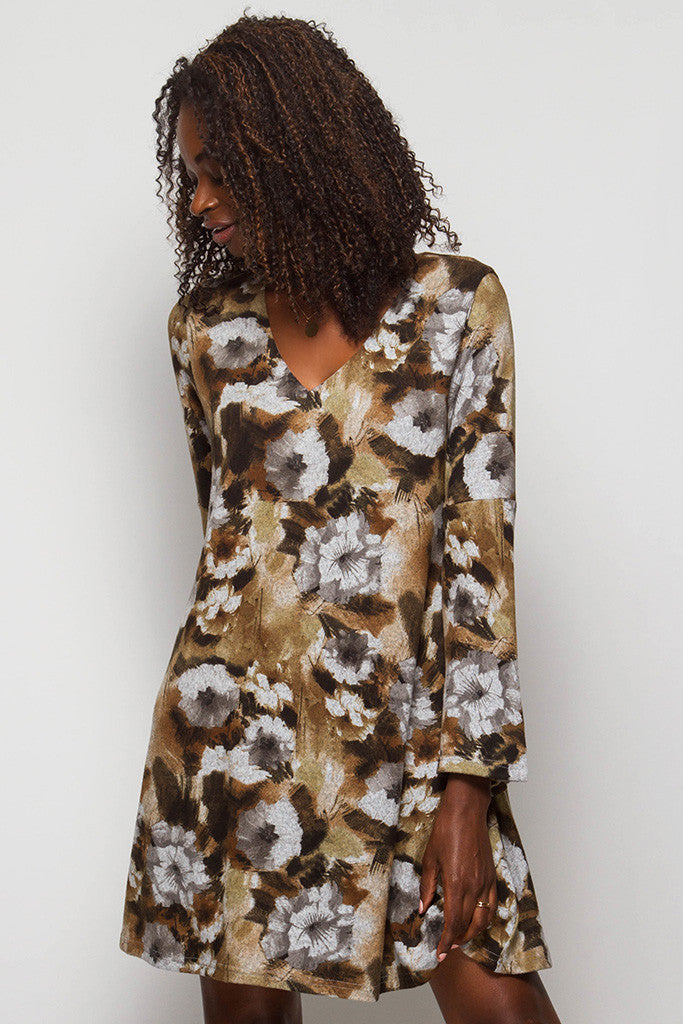 Brown Floral Dress With Long Sleeves