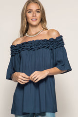 Blue Off The Shoulder Ruffled