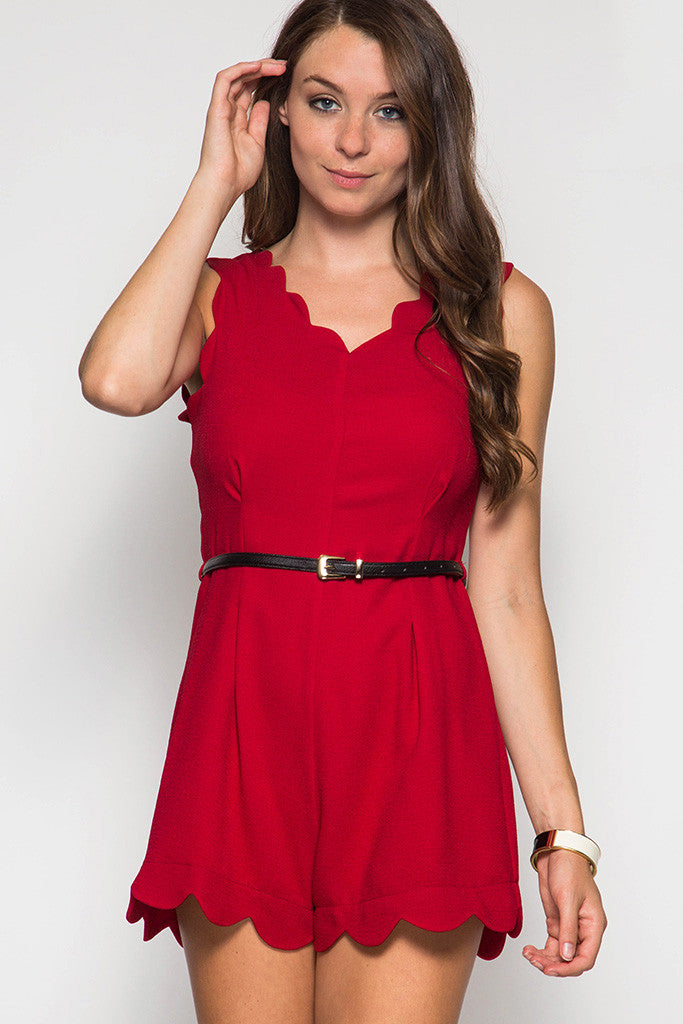 Red Sleeveless Romper with Scalloped Edges