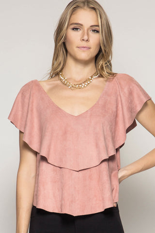 Suede Top With Neck Ruffles