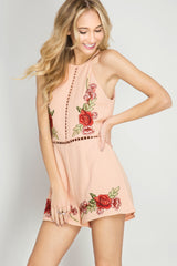 Sleeveless Romper With Floral Embroidery