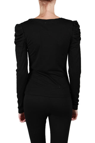 Black Long Sleeve Ruffled Sleeve
