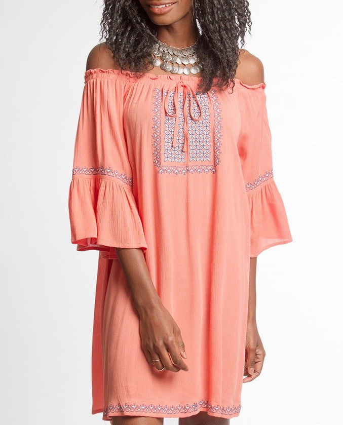 The Alina, Off The Shoulder Coral Dress