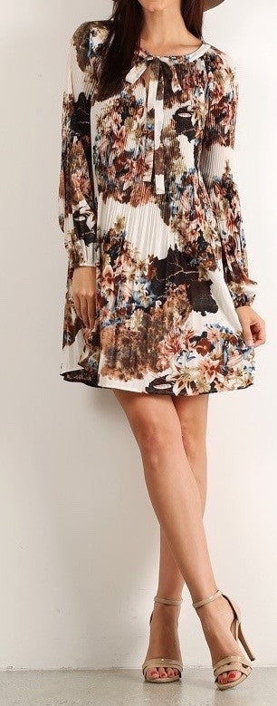 Patterned Pleated Shift Dress