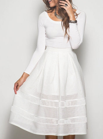 High Waisted White Cut Out Skirt