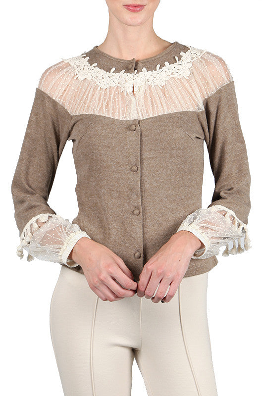 Tan Cardigan With Lace
