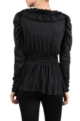 Charcoal Ruffle Collar Sweater