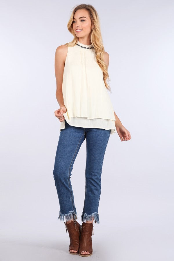 Cream Sleeveless Blouse Detailed Neckline