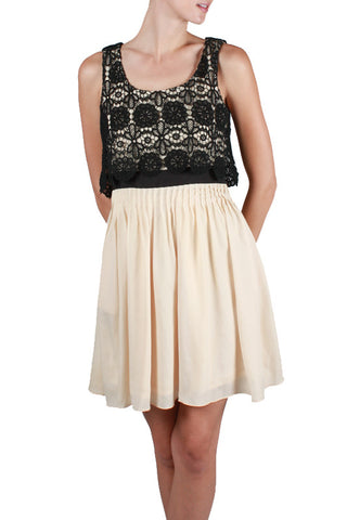 Cream Silk Black Lace Dress