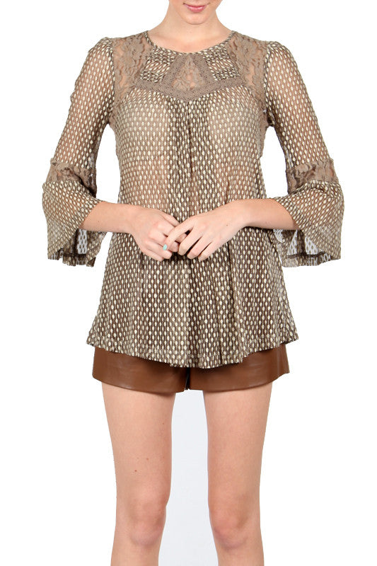 Sheer Olive Blouse with Lace and Polka Dot Detail