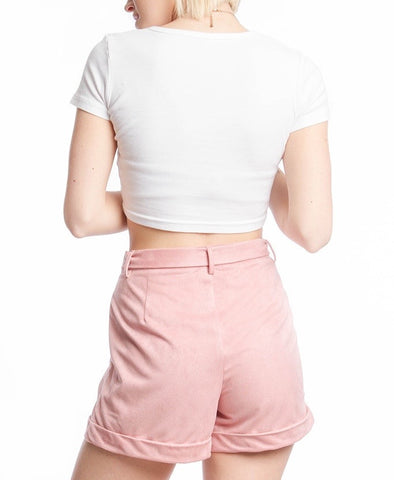 Pink Suede Shorts With Front Tie
