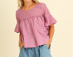 Casual With Cut Outs Baby Doll Top