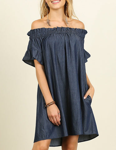 Fresh Cut Denim Off The Shoulder Dress