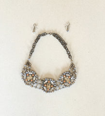 Statement Necklace With Silver and Gold Hues