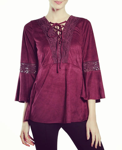 Burgundy Suede Lace Up Blouse