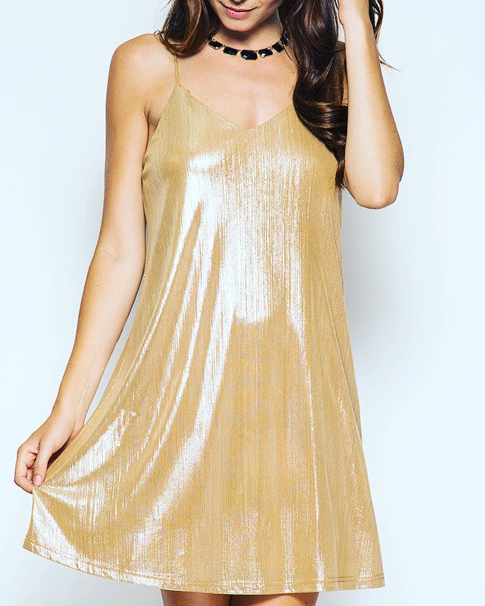 Metallic Gold Pleated Dress