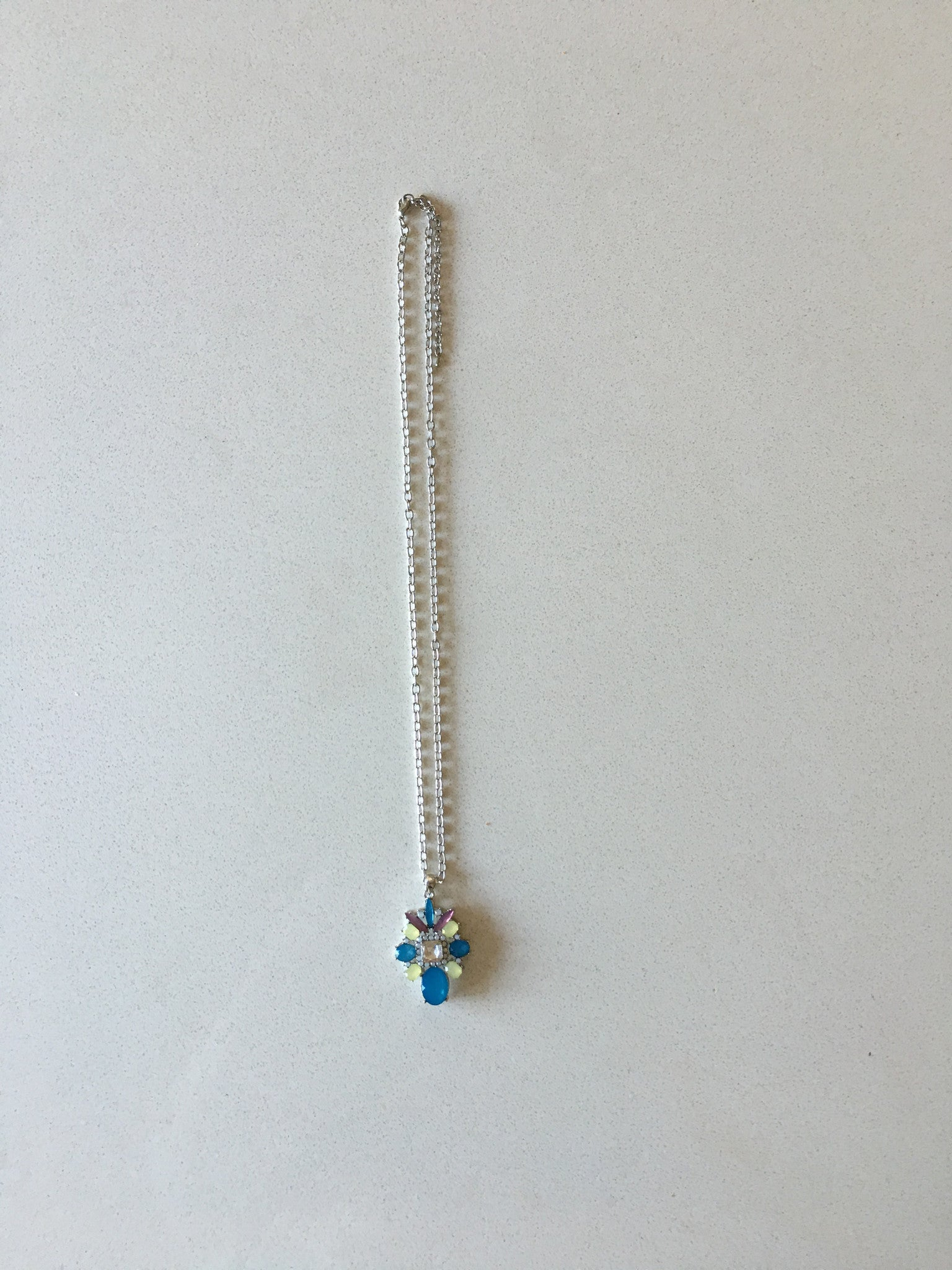 Silver Chain Long Stone Necklace