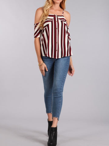 Burgundy Bare Shoulder Strappy Blouse