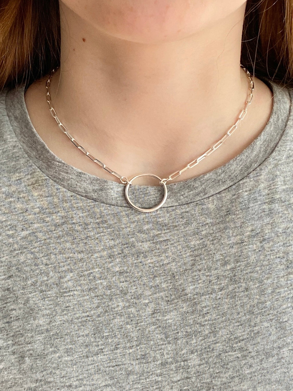 925 Paper clip chain Necklace with central hoop