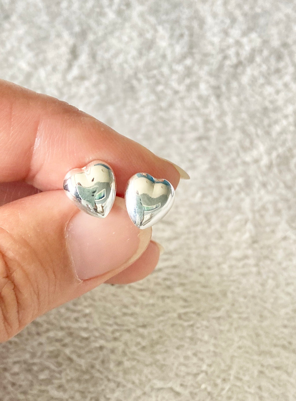 Puffed heart Stud Earrings