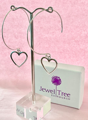 Hoop Earrings with large heart dangles