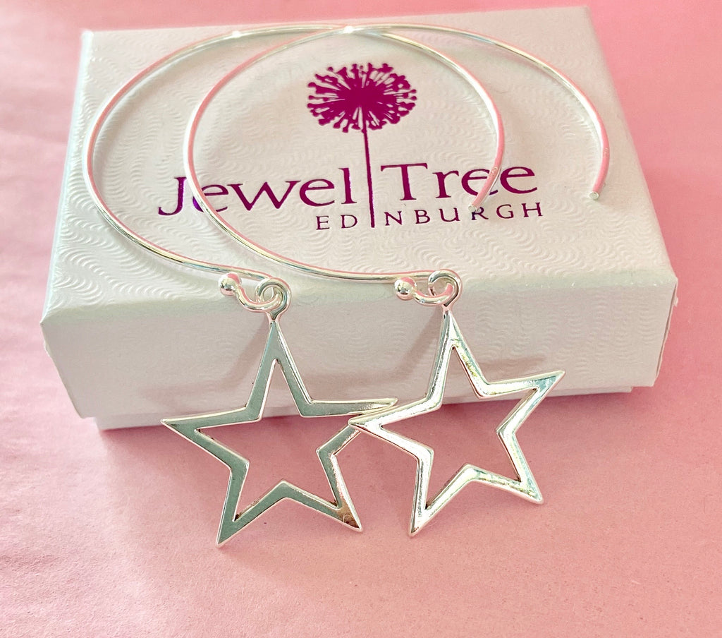 925 silver Hoop Earrings with large star 🌟 dangles
