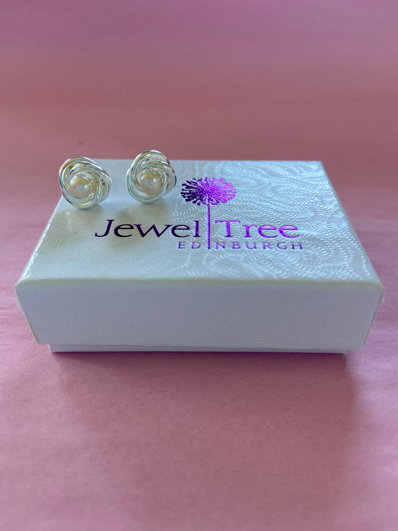White Freshwater twisted knot earrings