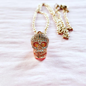 Rose gold CZ skull with stainless steel cable chain
