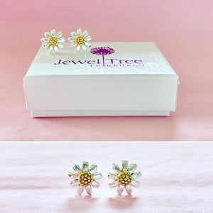 Daisy Flower Stud Earrings with golden centre