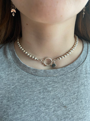 925 Ball Necklace with Designer Bolt ring