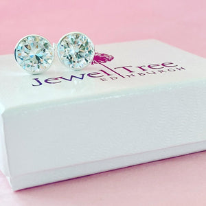 New Silver 8mm  CZ stud Earrings