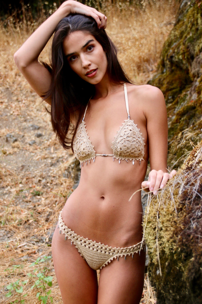 Golden leaf crochet bikini