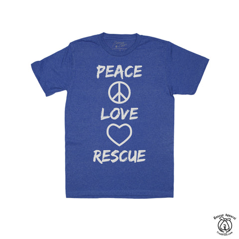 Peace, Love, Rescue T-Shirt (Royal)