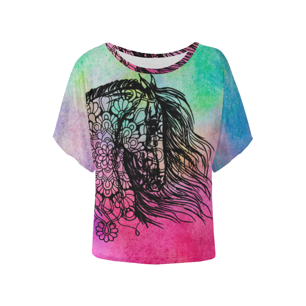 Water Color Horse Ladies Bat Wing Shirt