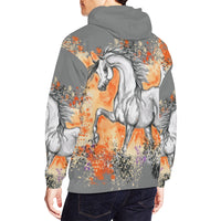 Arabian Horse Trotting Grey Hoodie Grey