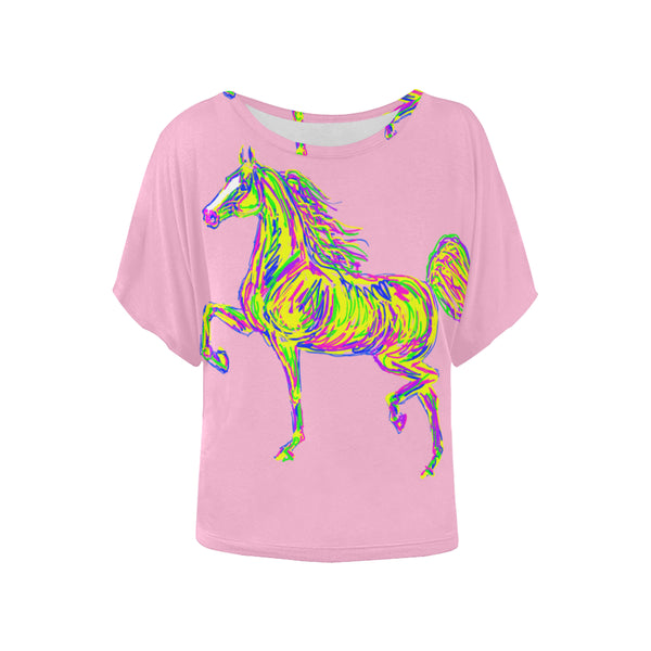 Colorful High Stepping Horse Ladies Shirt