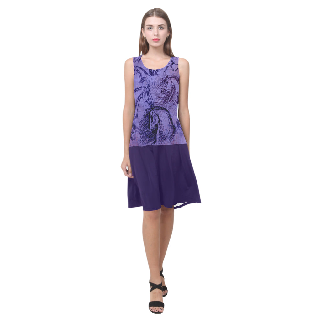 Vintage horse shift dress purple Sleeveless Summer Dress