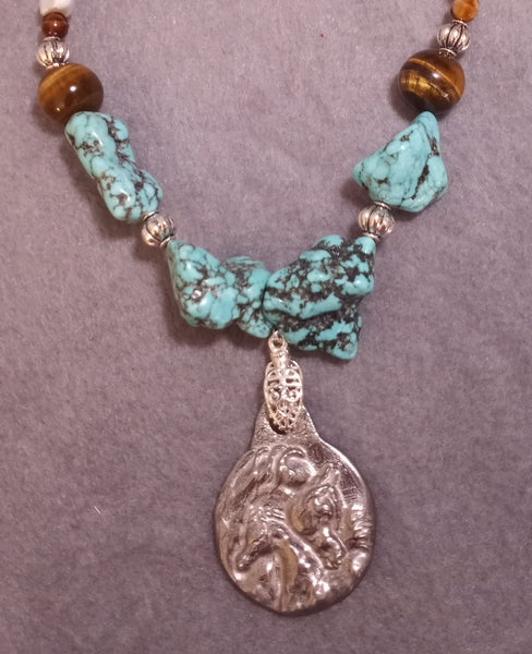 Turquoise Howlite Arabian Mare and foal necklace